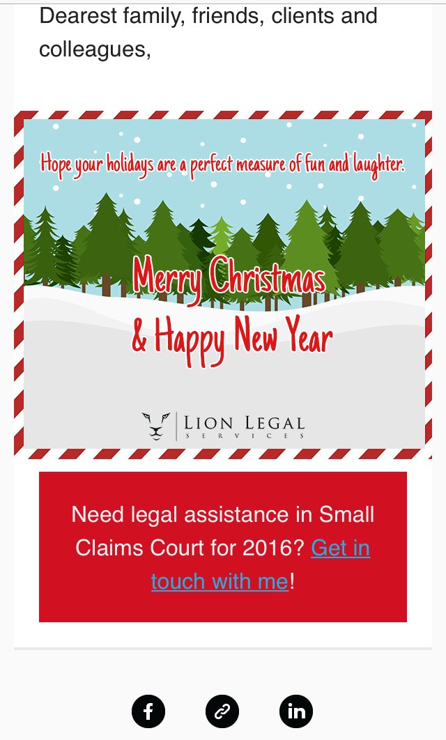 lion legal christmas email