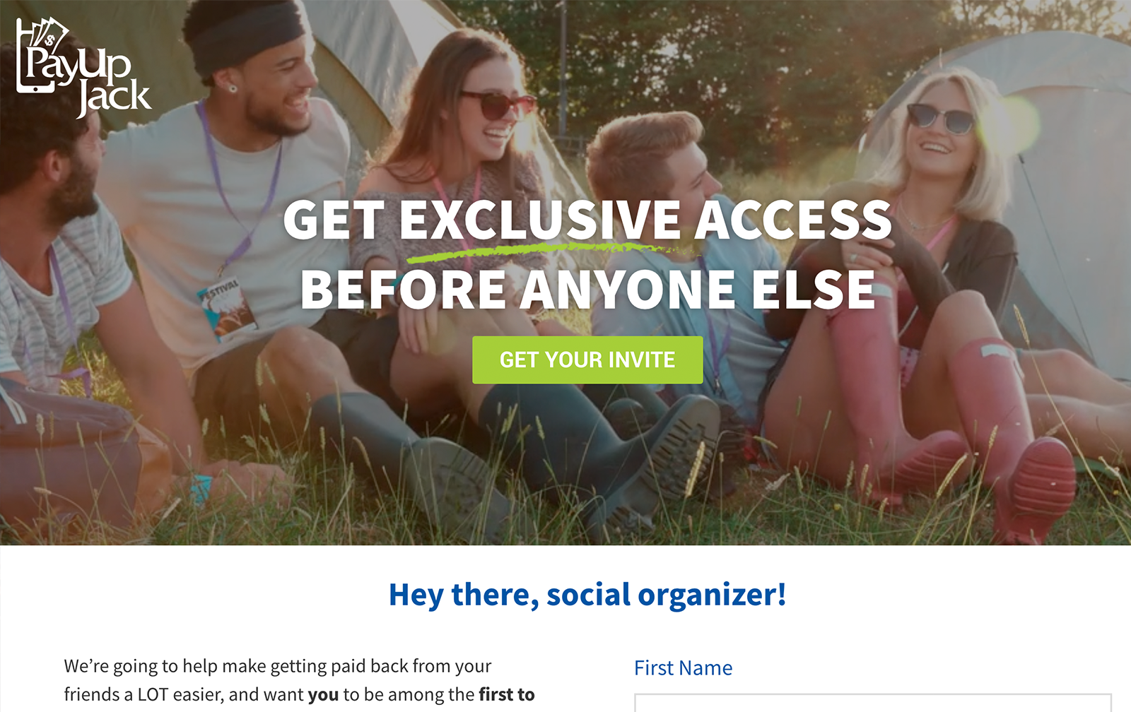 payup jack exclusive invite landing page desktop