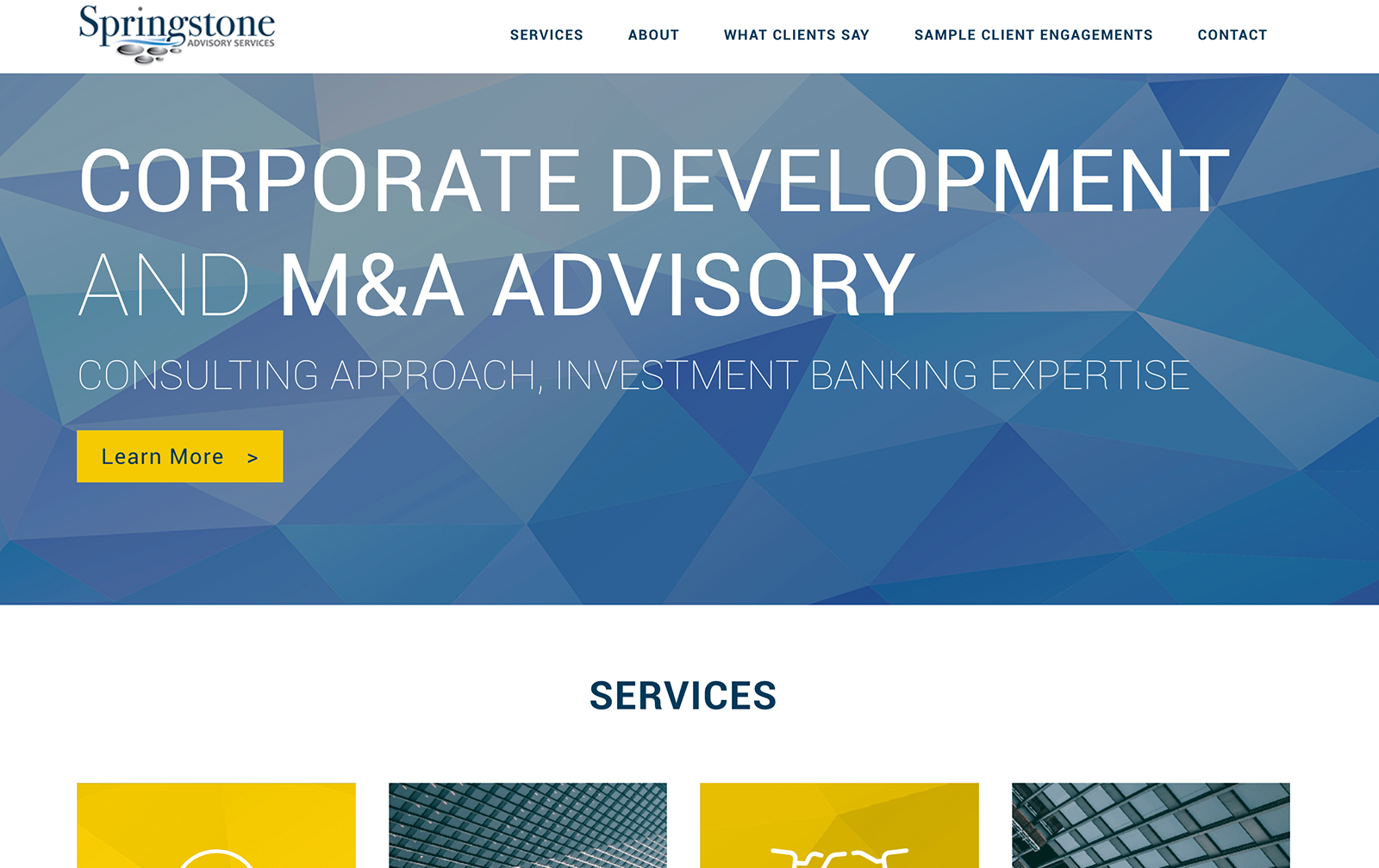 springstone advisory partners website desktop