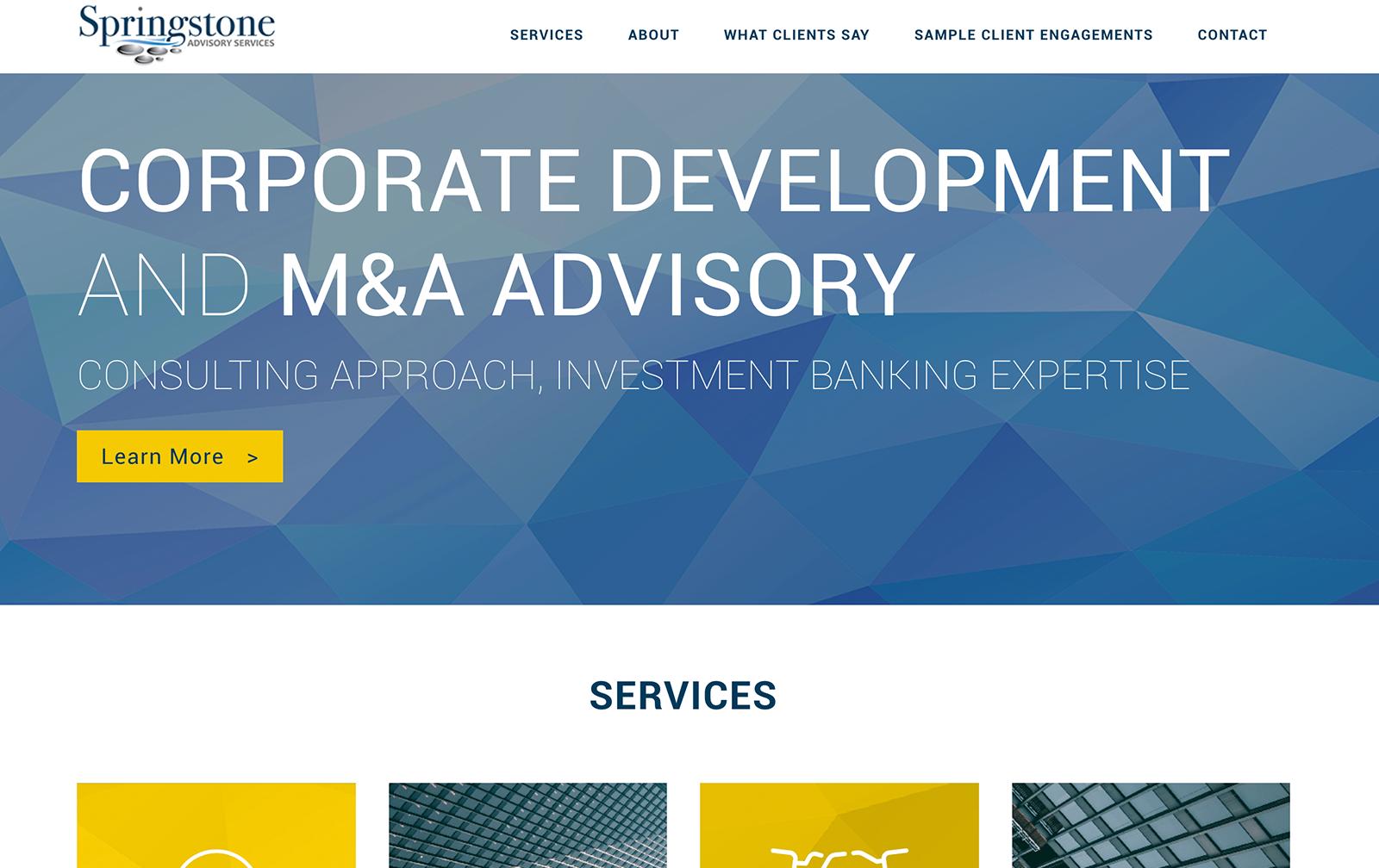 springstone advisory partners website desktop